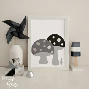 Monochrome Toadstools Art