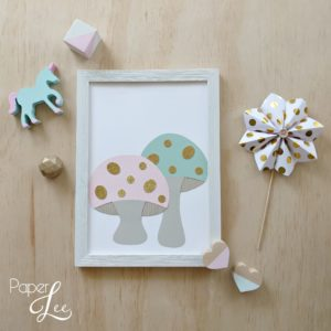 Mint & Pink Toadstools Art